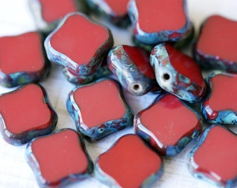 Czech Glass Window Beads - Dark Red Windows - Diamond Shaped Window Beads - Bead Soup Beads