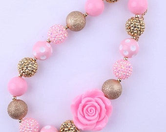 Baby Necklace  Pink & Gold Chunky Necklace, bubblegum necklace, baby, toddler