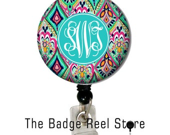 Name Badge Holder, Retractable ID Badge Holder - Preppy Jewels