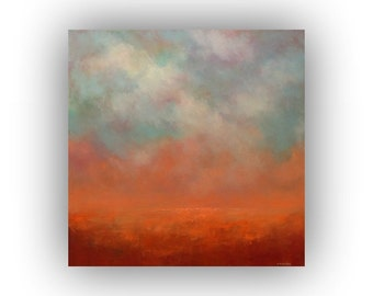 Fall Landscape Painting, Orange and Blue Oil Painting on Canvas, Original 20 x 20 Field Sky and Clouds Palette Knife Art