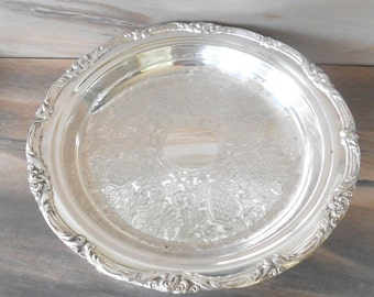 """Silver Plate Large Platter,Round Footed serving tray, Decorative  trim ,Ornate etching,/12"""" across/"""