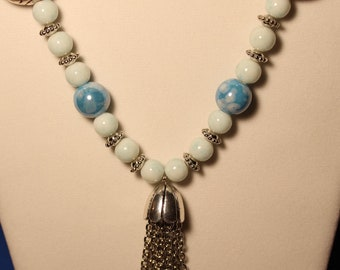 Blue Sky Necklace Set; Ceramic Beads in Blue Sky With White Clouds; Silver Tassell Necklace