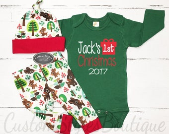 My First Christmas Outfit Baby Boy Personalized Bodysuit
