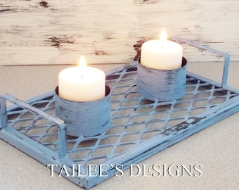 Candle Holder//Cottage Decor//Farmhouse Decor//French Country decor//blue//handmade