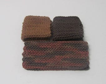 3 Crochet Dishcloths Bath cloths 100% Cotton