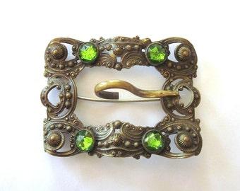 Antique Brooch Sash Pin Art Nouveau Jewelry Green Rhinestones