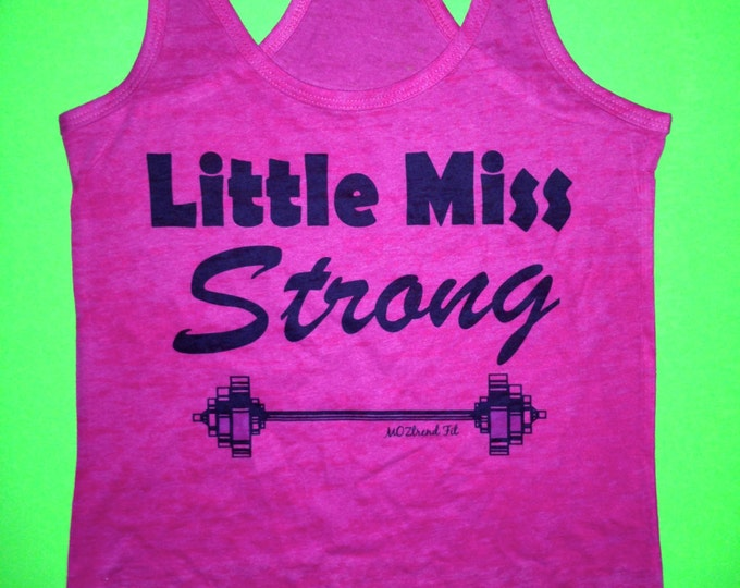 Miss Strong Tank Top. Weightlifting burnout Tank Top. Workout Tank Top. Ladies powerlifting tank top t-shirt. pink, green, white