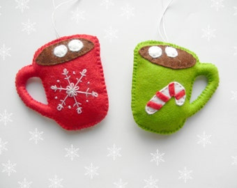 Christmas Ornaments- Christmas cocoa ornament - Felt cup- Hot Cocoa, Chocolate ornamnt, red green, candy cane, Embroidery christmas decor
