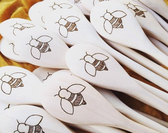 Honey Bee Wooden Spoons -  Mothers day gift, save the bees, bee housewarming gift, wedding gift, bee keeper, cute gardener gift