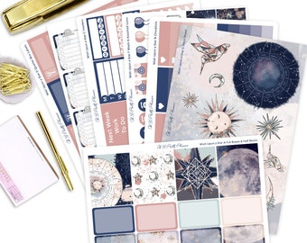 Wish Upon a Star Planner Sticker Kit - 7 Page Weekly Planner Sticker Kit for ECLP or Happy Planners