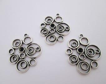 3 pendentif cercles géométrique en métal argenté 31 x 26 mm