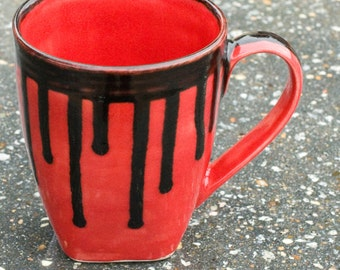 16 oz mug, Red mug with Black rim and drips, fully glazed in and out.