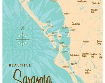 Sarasota florida map Etsy