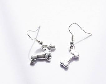 Dachshund Earrings, Dog Bone Earrings, Dachshund Stud Earrings, Dog Jewelry, Dachshund Jewelry, Dachshund Gifts for her