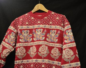80's Puff Paint,Teddy Bears,Roses,Bears,Fuchsia,Pink,Bears,Retro Crew neck,Puffy Paint,SPUMONI,Sweatshirt,Size Small,Rose Bud,Bears,Size 7-8