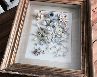 WOW antique porcelain bisque framed flower art sculpture bouquet gold gilt frame shabby French Nordic chic Rachel Ashwell