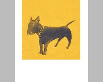 Bull Terrier Miniature Print Little Brown Dog - Small Dog Illustration