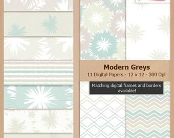 Digital Scrapbook Paper Pack - MODERN GREYS - Instant Download
