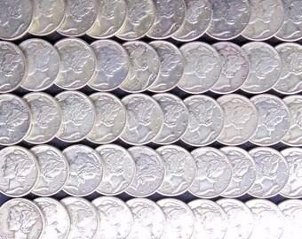 High Grade 90% Old U.S. Silver Mercury Dimes // VF-XF // 1916-1945 // 1 COIN