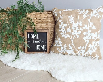"""15"""" x 15"""" Burlap and Linen Floral Throw Pillow COVER"""