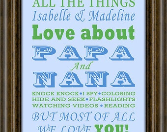 Gifts for Grandparents -  Gift Grandparents - Personalized Grandparent Print, Gift Fir Dad, Gifts for Grandparents,   Print