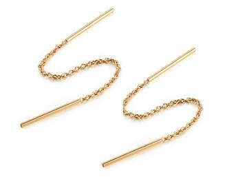 MINIMAL NOVELTY Style - Rose Gold Plated Bar Chain Pull Through Threader Earrings