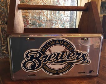 Handcrafted Milwaukee Brewers License Plate Solid Wood Tote Box Drink Carrier
