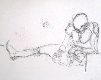 Contemplation, original monoprint by Sandy Bruckner