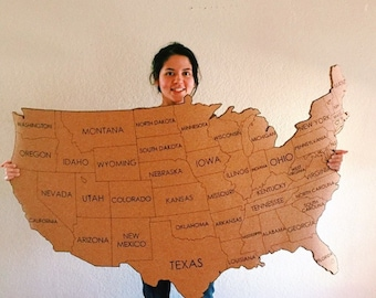 Extra Large United States Corkboard Map State Names USA Cork Map Pin Board Gifts for Teachers Educational Classroom Office Travel Geography