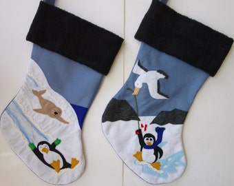 "Penguin Family Set Christmas Stockings--""Antarctic Friends II"""