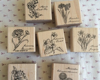 Retired Stampin up, Months of the Year stamps, Flower stamp, November stamp, December Stamp, January stamp, month stamp, March Stamp