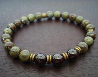 Men's Garnet Kundalini Mala Bracelet // Garnet, Dragon's Blood Jasper Mala Bracelet // Yoga, Buddhist, Meditation, Jewelry