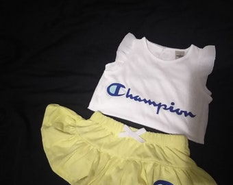 Champion Inspired Skirt Outfit