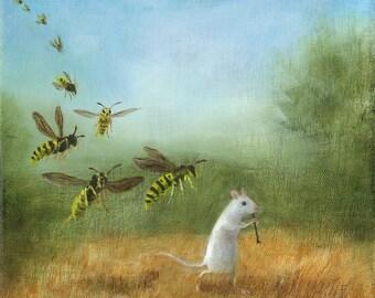 "Fine Art Print of an Original Animal Painting: ""The Magic Piper"""
