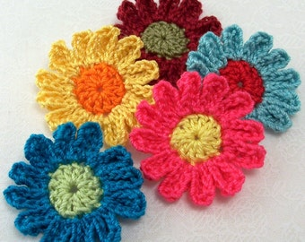 Crochet Colorful Flower Appliques / Embellishments