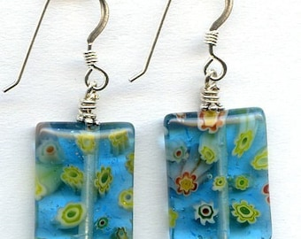 Millefiori  Daisies Rectangular Glass bead Sterling Silver Earrings