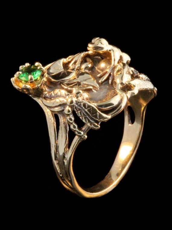Frog Ring Gold Frog Jewelry Lily Pond Ring Gold Frog 14k Gold