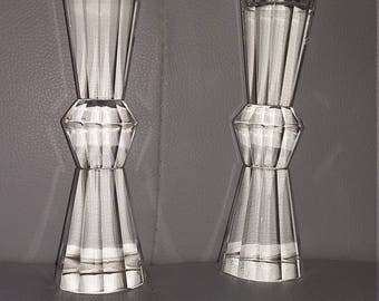 Pair Of Cut Glass Crystal Candlestick Holders