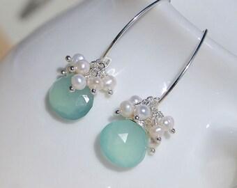 Aqua Chalcedony, Freshwater Pearl & Sterling Silver Earrings. Bead Cluster Earrings. Long Dangle Earrings. Gemstone Drop Earrings. Jewellery