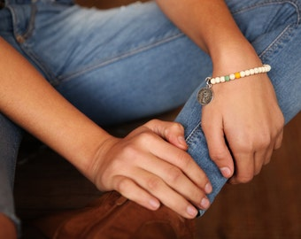 Gemstone Stretch Bracelet, Yellow  Stretch Bracelet, Beaded Stacking Bracelet,,Women's bracelet,bracelet for her,Tassel Bracelet,
