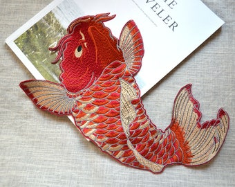 Big Red carp Embroidery patch ,Large Red Koi Fish sew on embroidered patch