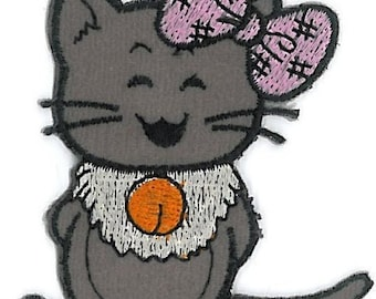 3 pc Happy Cuti Gray Mouse Felt Embroideries Patch Motif Appliques Iron On PH148