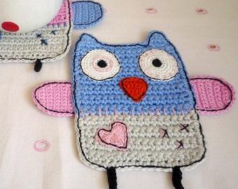 Crochet Owl Coaster - Bird Coaster - Owl Rug Mug - Gift for Girlfriend - Everyday Gift - Gift for Her - Owl Lover Gift - Gift for Sister