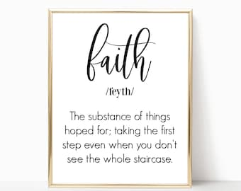 Wall Decor, Home Decor, Faith Definition, Instant Download, Wall Décor, Wall Hangings, DIY, Gift Idea, Gift, Gift for Women, Print, Frame