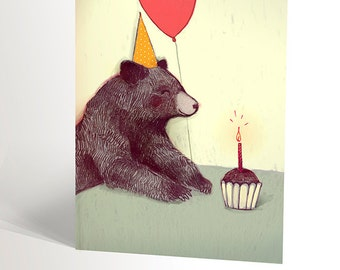 Birthday bear card   illustration of a bear eating a cake in picnic   first anniversary   animal lovers   happy birthday   4,25'' X 5,5''