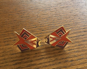 """Vintage Rare Color~Signed Laurel Burch 1"""" """"Siamese Fish"""" Post/Pierced Earrings in red/Orange/Purple Enamel Cloisonne and Gold Plate"""