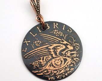 Winged eye pendant, ex libris bookplate jewelry, etched copper, optional necklace, 28mm