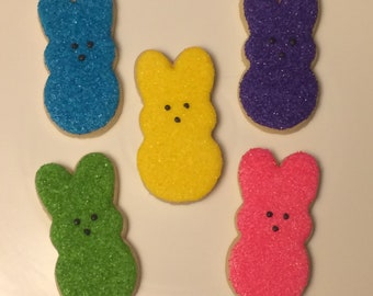 One dozen Easter PEEP decorated cookies