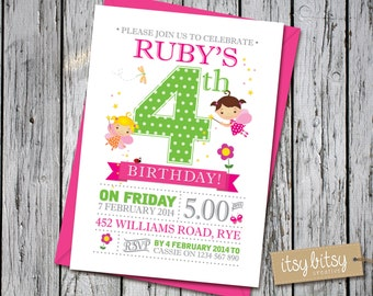 Fairy Birthday Invitation, 4th Birthday Fairy Invitation, 5th Birthday Fairy Invitation, Fairy Party, Enchanted Forest Invitation 6x4, 5x7