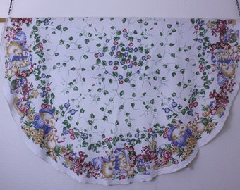 Vintage  Easter  round tablecloth, bunnies, Easter eggs, flowers